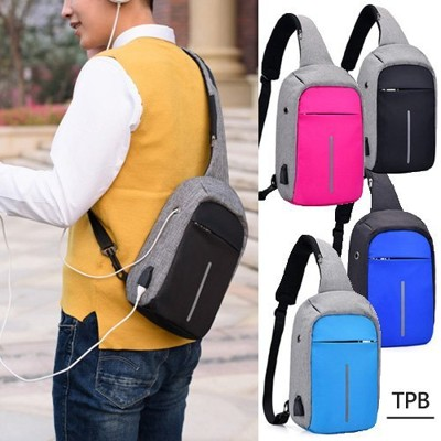 [ TPB ] 簡約防潑水附耳機孔支援USB充電防盜斜背包 6色選 (2折)