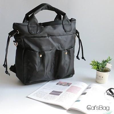 【Catsbag】設計款超輕防水尼龍束口三用空氣包後背包 (3.2折)
