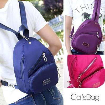 [ Catsbag ] - 超輕量純色防水尼龍二用可斜背可後背包 (4.3折)