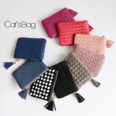[ Catsbag ] 韓國質感手工真編織大容量可插信用卡流蘇零錢包/短夾- (3.5折)