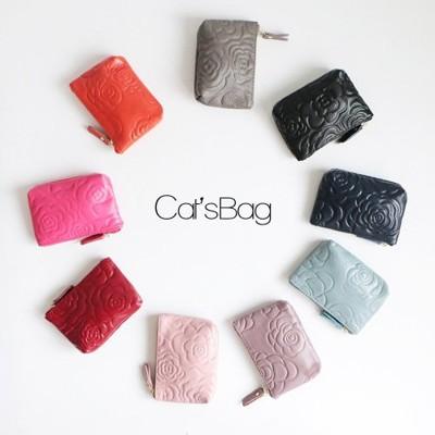 [ Catsbag ] 韓版山茶花皮革鑰匙圈零錢包 (3.5折)