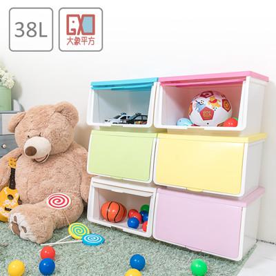 大象平方-38L繽紛系列直取式收納箱【6入彩蛋版】 (6折)