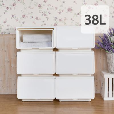 大象平方-38L繽紛系列直取式收納箱【象牙白】 (5.3折)