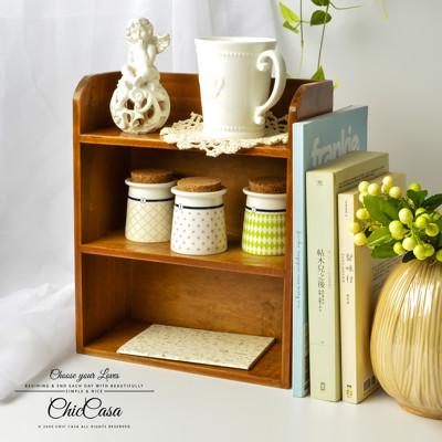 復古實木桌上收納櫃架 梯形/雙層 (5.9折)