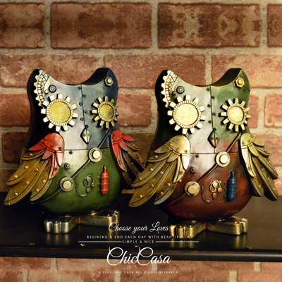 工業風蒸氣龐克貓頭鷹撲滿 存錢桶 紅色/藍色 民宿咖啡店裝飾 (7.1折)