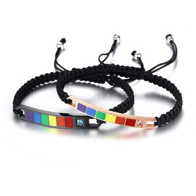 彩虹鈦鋼情侶手鍊 對鍊 項鍊 吊墜 十字架 鈦鋼 磁石 編織手鍊 磁石扣 同性 同志 手環 手珠 和 (8折)