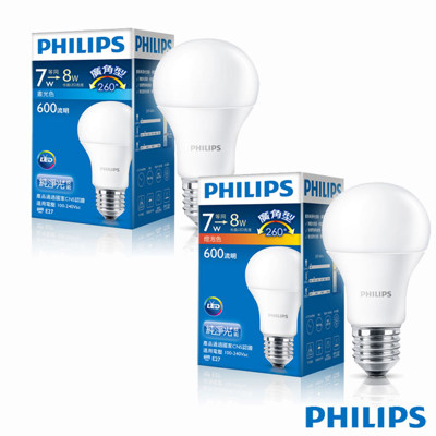 【飛利浦 PHILIPS】 7W 全電壓 E27 白光 / 黃光 LED燈泡 (4.9折)