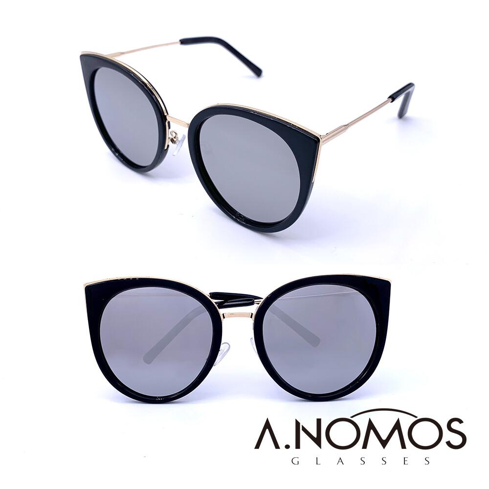 a.nomos遁世絕俗的小說家輕時尚微貓眼偏光墨鏡/太陽眼鏡(859-白水銀款)
