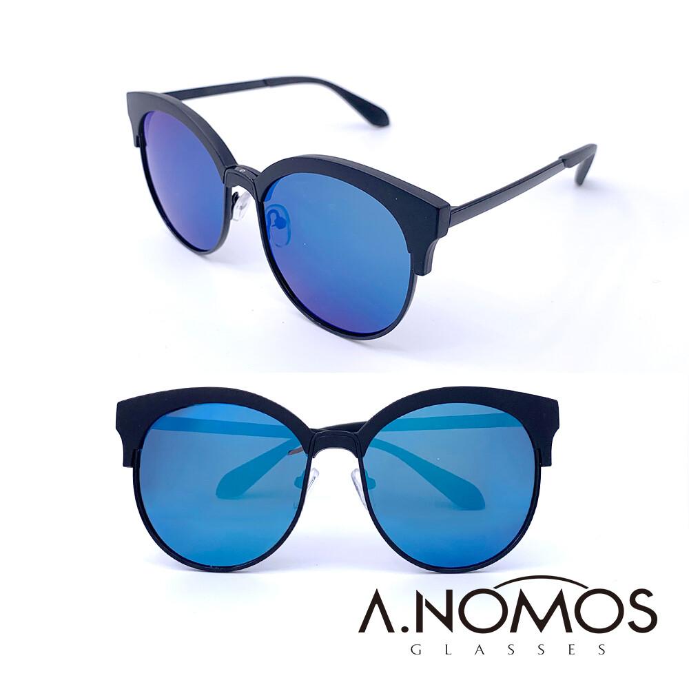 a.nomos夏夜清風時尚都會貓眼偏光太陽眼鏡/墨鏡(832-黑框藍水銀)
