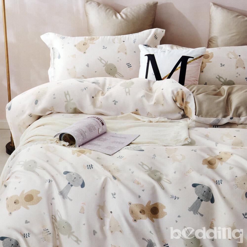 bedding-100%天絲三件式枕套床包組-萌動小隊(雙人)