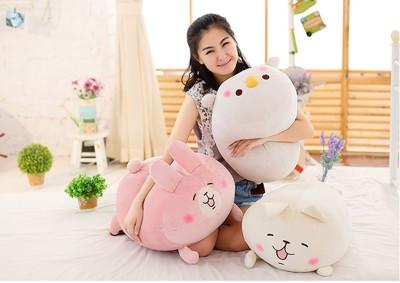 人氣kanahei卡娜赫拉的小動物 兔子 武士雞 貓咪 60X40公分絨毛靠枕抱枕