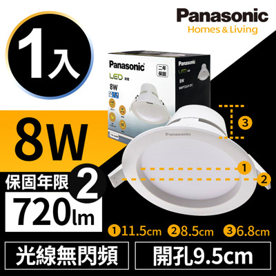 Panasonic國際牌 LED 崁燈 8W 9.5cm 全電壓 兩年保固 白光/自然光/黃光 (2折)