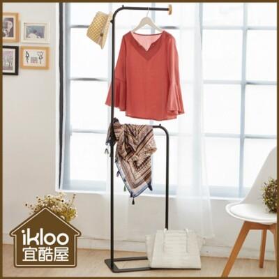 【ikloo】無印風簡約掛衣架/吊衣架-黑/掛衣架/吊衣架/曬衣架/衣架 (6.4折)
