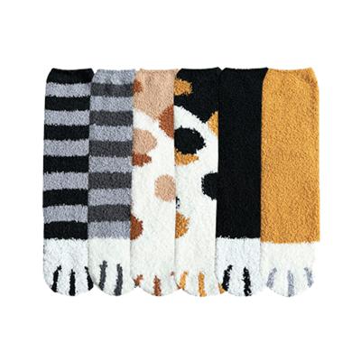 聖誕節爆款保暖珊瑚絨貓爪襪6雙組 (0.6折)