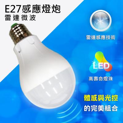 LED 雷達微波感應式 E27節能 燈泡 (4.4折)