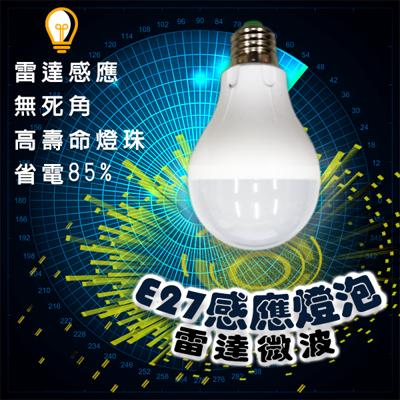 【LED】 雷達微波感應式 E27節能 燈泡 (4.6折)