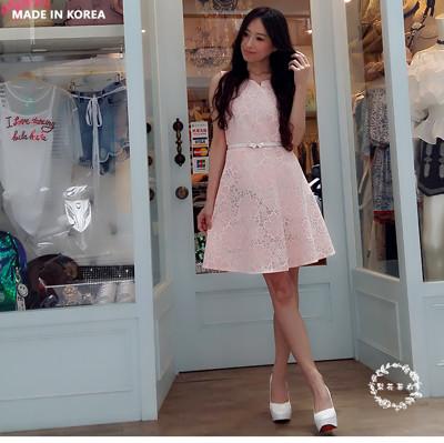 【梨花著衣】韓版粉色洋裝附腰帶 (7折)