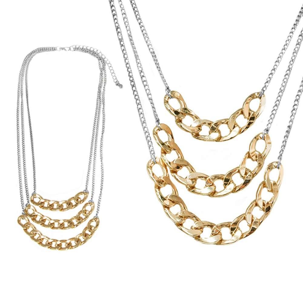 摩達客時尚多層鏈條造型金銀色項鍊 (28915001024)