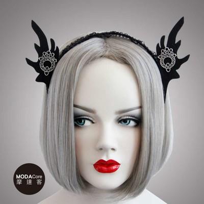 【摩達客】萬聖派對頭飾-哥德風黑色精靈耳蕾絲創意造型髮箍 (4.8折)