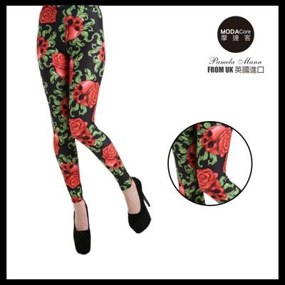 【摩達客】英國進口義大利製Pamela Mann 紅骷髏花內搭褲 (打底褲/鉛筆褲) (4.8折)