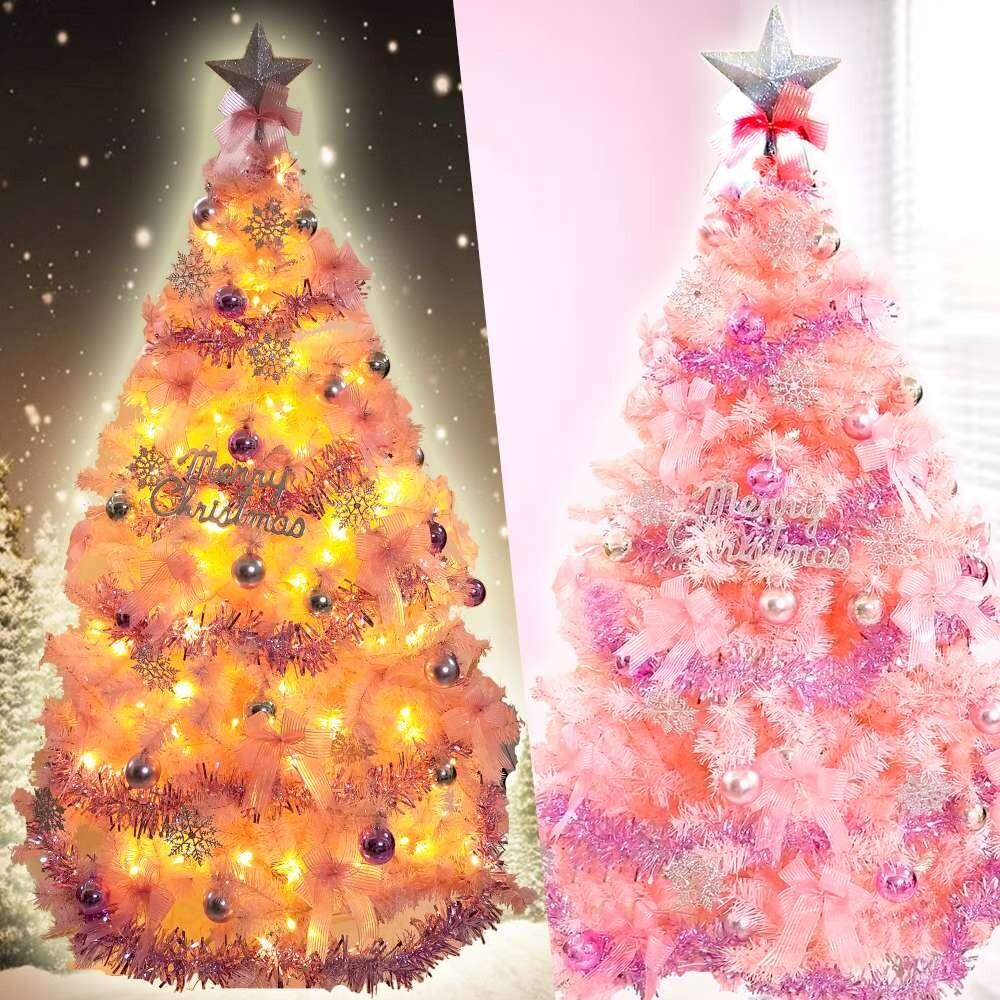 摩達客耶誕-台灣製5尺(150cm)豪華版夢幻粉紅聖誕樹(浪漫櫻花粉銀系配件)+100燈led燈暖白