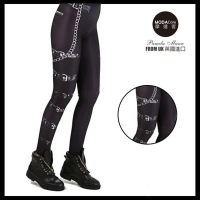 【摩達客】英國進口義大利製Pamela Mann   搖滾金屬皮帶圖紋內搭褲 (打底褲/鉛筆褲) (4.8折)