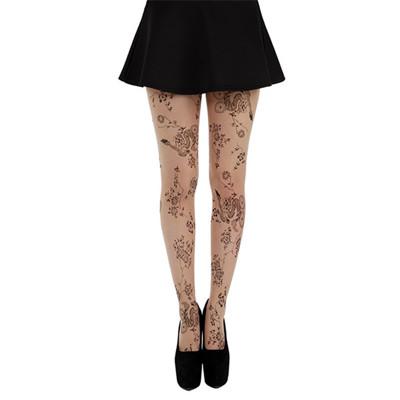 【摩達客】英國進口義大利製Pamela Mann 花草刺青藝術圖紋彈性褲襪 (6折)