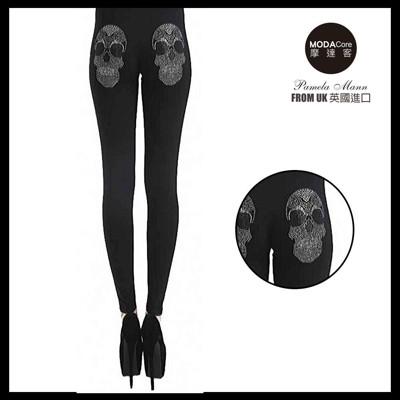 【摩達客】英國進口義大利製Pamela Mann  搖滾骷髏金屬感貼鑽黑色內搭褲 (打底褲/鉛筆褲) (4.8折)