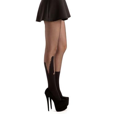 【摩達客】英國進口義大利製Pamela Mann 鱷魚嘴圖紋透明絲襪網襪彈性褲襪 (6折)