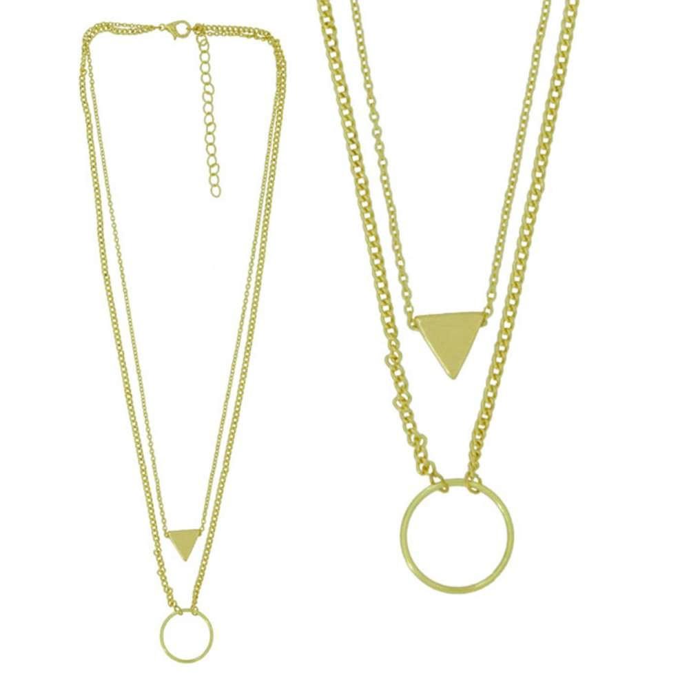 摩達客三角與圓雙層金色項鍊(28915001014)