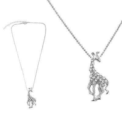 【摩達客】金屬長頸鹿造型銀色項鍊(28915001034) (4.5折)