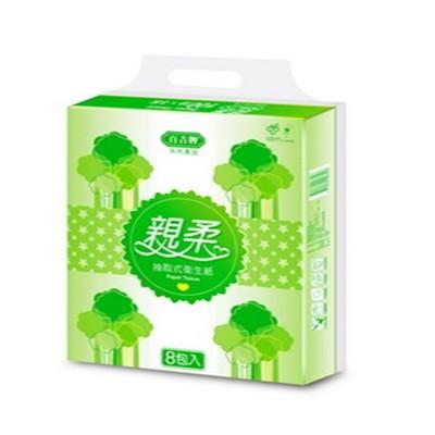 百吉牌親柔抽取式衛生紙100抽*6串*8包 (9.4折)