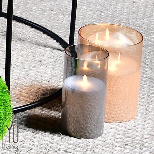 [限時特賣] 擬真led玻璃蠟燭搖曳燈 裝飾燈 氣氛燈 燈具10cm (灰色)yu living