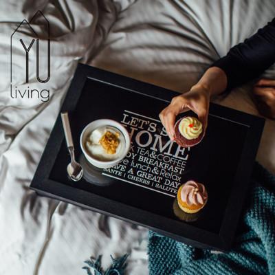 【YU Living】北歐風 木質棉墊膝上墊/床邊桌/電腦墊(黑色) (6.4折)