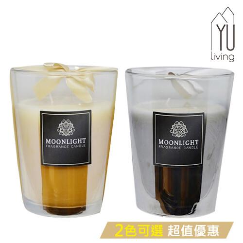 [限時特賣] 緞帶玻璃香氛蠟燭杯 玻璃蠟燭 480g (金銀色,2款)yu living