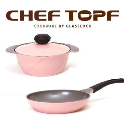 韓國NO.1【Chef Topf】薔薇/玫瑰鍋LA ROSE系列不沾淺鍋20公分LL20+平底鍋26 (6.5折)
