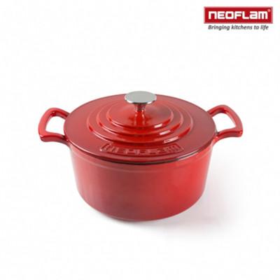 【韓國NEOFLAM】24cm厚釜琺瑯鑄鐵湯鍋(紅)NF-CI-C24 (5.1折)