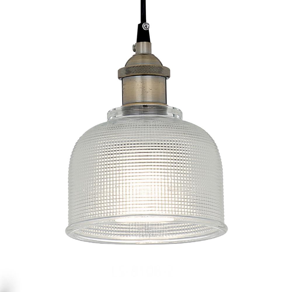日式玻璃罩古銅鐵件吊燈