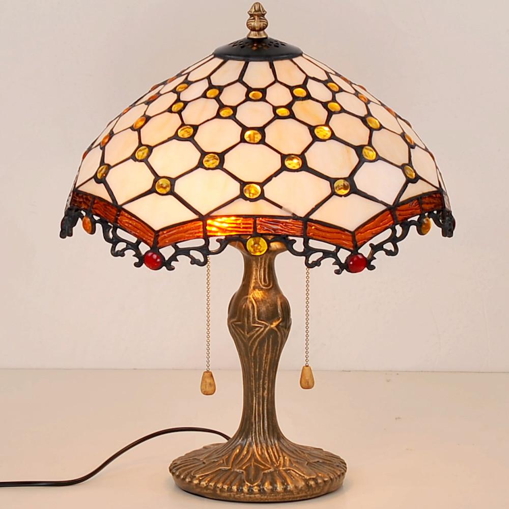 蒂芬尼手工彩繪格菱紋玻璃桌燈
