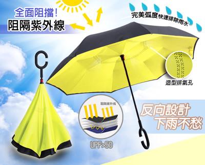 【螢光黃】C型免手持創新上收式反向傘 (5.5折)