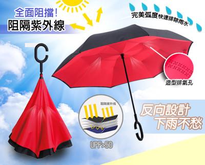【時尚紅】C型免手持創新上收式反向傘 (2.8折)