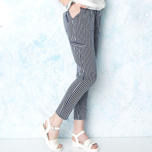 直條紋棉麻長褲
