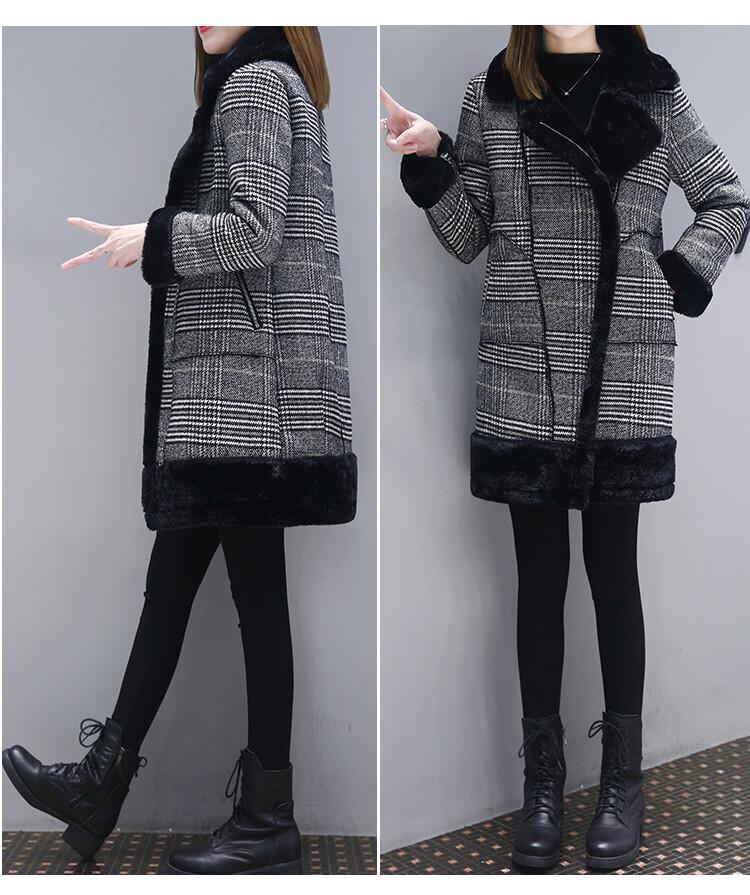 時尚保暖格子大衣