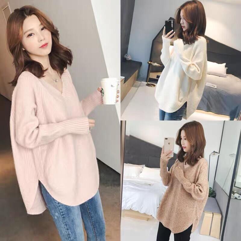 韓版新款v領寬鬆顯瘦毛上衣