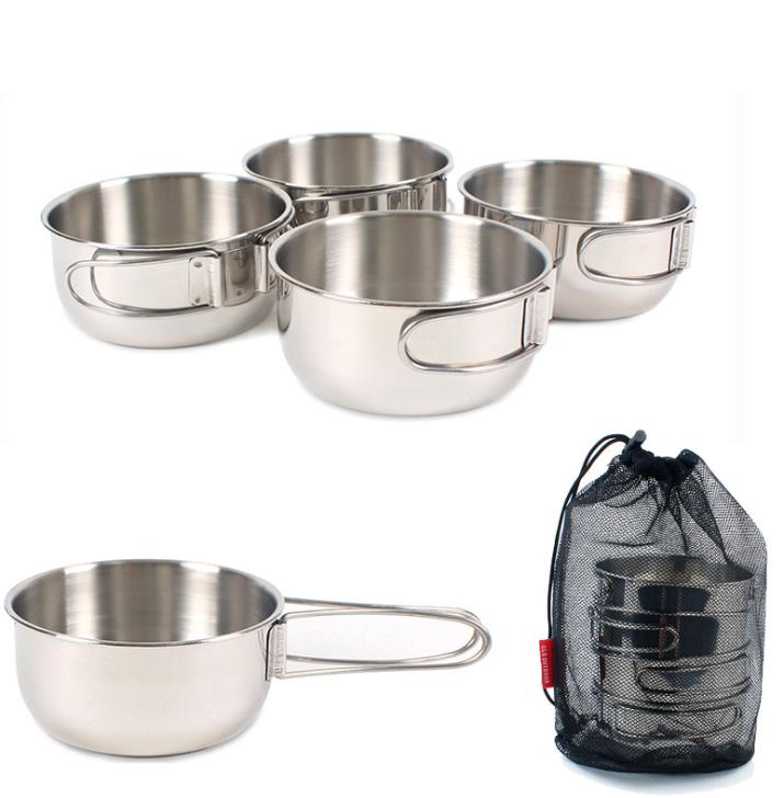 outkeeper戶外露營野餐組合不銹鋼4件套碗