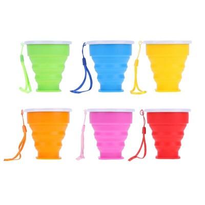 【outkeeper】戶外用品 糖果色矽膠可伸縮摺疊杯 矽膠摺疊杯 環保杯 摺疊杯 伸縮水杯 便攜式 (5.3折)