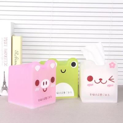 半透明可愛卡通紙巾盒 正方形紙巾盒 青蛙造型紙巾盒 粉紅豬 小貓咪面紙盒 (10折)