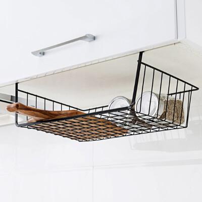 鐵藝置物架掛式廚房免打孔收納架儲物架子掛籃置物籃 層板下掛籃