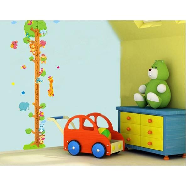 diy 牆貼 幼兒園 兒童房佈置 可愛 綠色小樹身高貼 森林動物身高尺 玻璃貼 環保材質