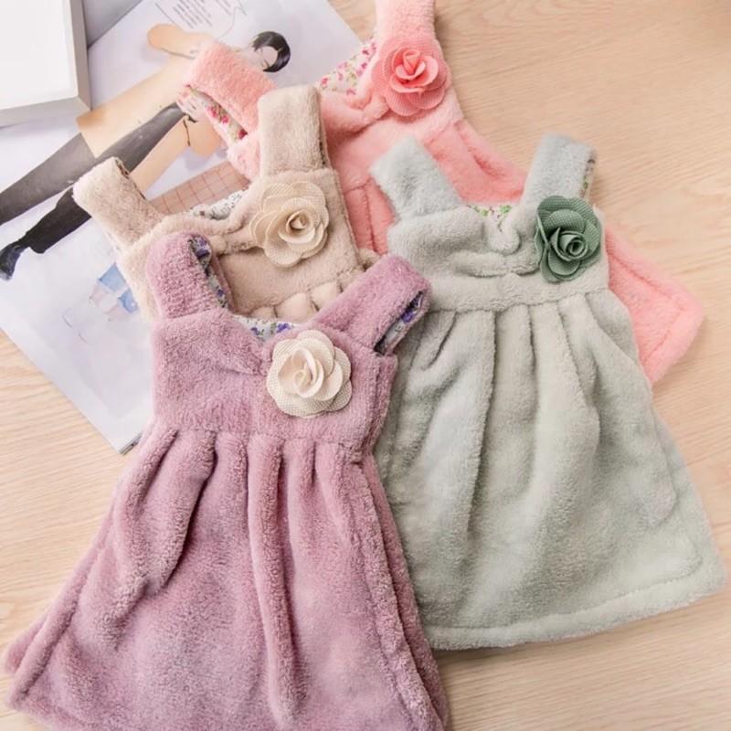 新款甜美可愛連身裙造型加厚珊瑚絨擦手巾 吸水可掛式擦手巾 廚房擦手巾 浴室擦手巾 毛巾